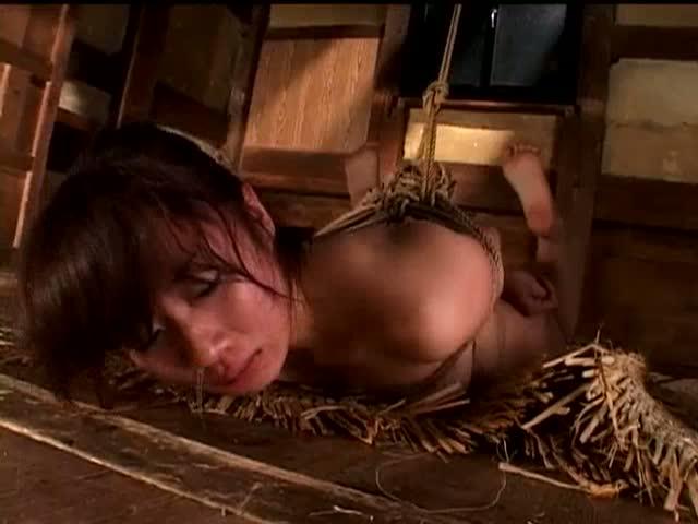 緊縛されエビ反りの状態で吊るされた美女。タオルで背中から尻を何度も何度もスパンキングされ続ける。涙を流し泣きながら最後はアゴまで達するぐらいに鼻水を垂らす。