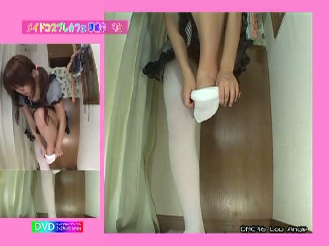 【サイハイソックス@着替え】脚が長い美脚コスプレ娘の着替え盗撮!ニーハ...